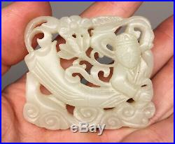 Fine Chinese Qing Dynasty Jade Carved Openwork'Fei Tian' Belle Flying Female