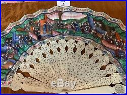 Fine Chinese Qing Filigree Carved Hand Paint 100 Faces Figural Court Scene Fan