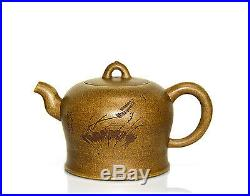 Fine Chinese Yixing Zisha Carved Summer Ceramic Teapot with Seal Mark