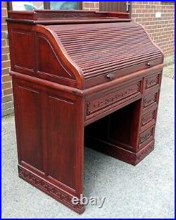 Fine Chinese antique Republic Period solid rosewood archaic carved rolltop desk