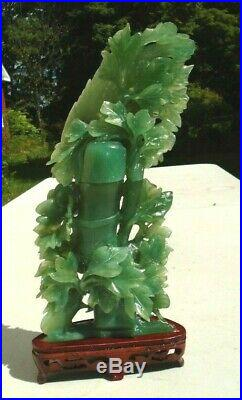 Fine Chinese natural carved green jade bamboo tree with exotic bird sculpture