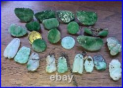 Fine Collection Genuine Antique Chinese Jade Jadeite Carvings Pendants Earrings