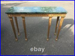 Fine Console Side Table with Green Marble Top Gold Antique Style Quality