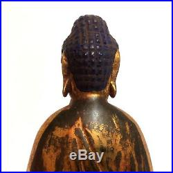 Fine Early 1900's Chinese Carved Wood Gilt Lacquered Buddha 16 H