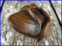 Fine Edo / Meiji Period Japanese Carved Wooden Netsuke Serpent On A Seashell