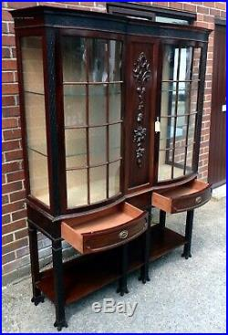 Fine Edwardian antique solid carved mahogany astragal glazed display cabinet