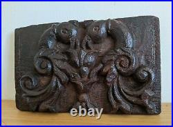Fine Elizabethan Carved Oak Panel With Birds And Flowers circa1560-1580