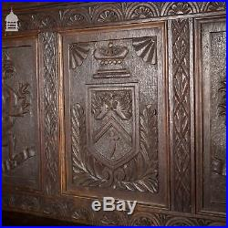 Fine Example of 19th C Carved Oak Monks Bench Pew Settle