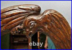 Fine FRENCH ART NOUVEAU Carved Mahogany Mirror with Dragonfly & Eagle F. BERNARD