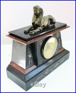 Fine FRENCH EQYPTIAN REVIVAL Carved Marble & Gilt Bronze Clock c. 1870 antique
