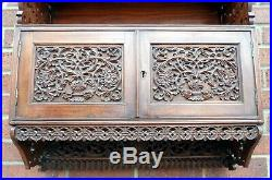 Fine Georgian antique solid Calamander Anglo Indian carved fretwork bookcase