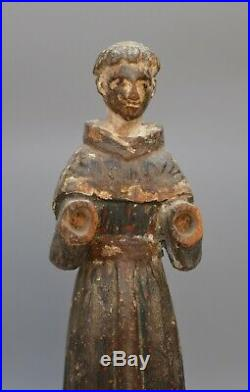 Fine Georgian wooden carved figure monk / priest with remnant of original paint