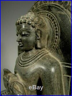 Fine India Indian Carved Stone Seated Jain Tirthankara Figure ca. 20th century