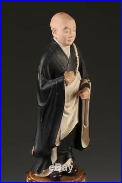 Fine Japan Japanese Polychrome wood carved statue Buddhist Sage ca. 20th c