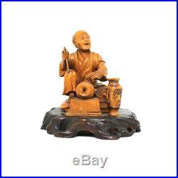 Fine Japanese Boxwood Street Vendor Figure