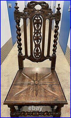 Fine Jointed Waxed Oak Victorian Oak Chair Carved Barley Twist Pilasters/Legs