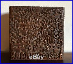 Fine Large Antique Chinese Canton Sandalwood Wood Deep Carved Box Case 19th C
