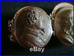 Fine Large Antique Grand Tour Carved Vesuvius Lava Cameo Gold Bracelet Scholars