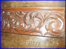 Fine Large Antique Quarter Sawn Highly Patinated Carved Oak Frieze Panel 1.24 M