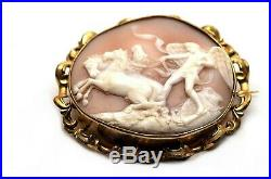 Fine Large Antique Victorian Gilt Metal Pinchbeck Carved Shell Cameo Brooch 78mm