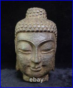 Fine Large Heavy Old Chinese Hand Carving Stone Buddha Head Statue