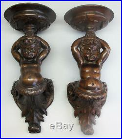 Fine & Large Pair of Mid-19th C. CARVED WOOD Wall Sconces with PUTTI c. 1860