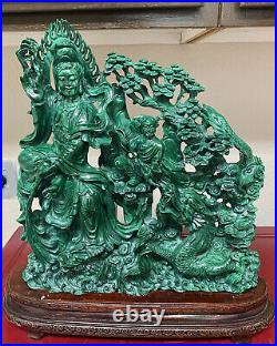 Fine Large Vintage Chinese Carved malachite Figures Ornaments Statue