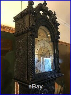 Fine Late 19th Century 8 Day Deadbeat Ship Automaton Carved Longcase Clock
