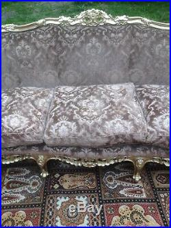 Fine Louis VXI Canape/Sofa Carved Guiltwood Demask Upholstery