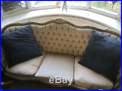 Fine Louis VXI Canape/Sofa Carved Tufted Gold Frame Beige cushions Not Included