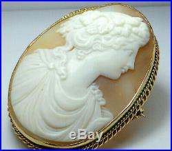 Fine Lovely Large Antique 9K 9ct Yellow Gold Carved Cameo Shell Pin Brooch 17.1g