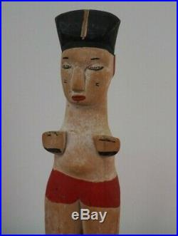 Fine Mounted West African Nigerian Tribal Art Carved Wooden Painted Ibibio Doll