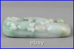 Fine Natural Vtg/ Antique Carved Chinese Goldfish & Lotus Jade Pendant 97 g