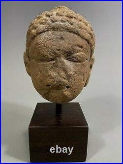 Fine North India Indian carved Stone Head of the Buddha 10-12th century AD