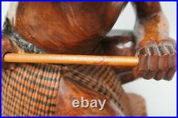Fine Oceanic Polynesian New Zealand Maori Carved Wooden Warrior Figure With Club