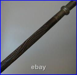 Fine Old Antique African Tribal Art Carved Congo Bakongo Staff Stick Metal Inlay
