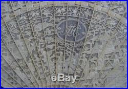 Fine Old Antique Carved Chinese Canton Brise Export Fan Eventail Qing