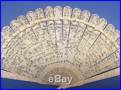 Fine Old Antique Carved Chinese Canton Brise Export Fan Eventail Qing 2