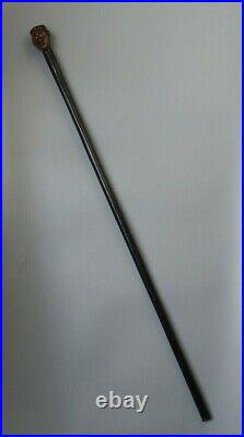 Fine Old Antique South African Tribal Art Carved Wood Zulu Staff Stick Metal Eye