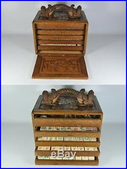 Fine Old China Chinese Mahjong Set Carved Wood Case Scholar Art
