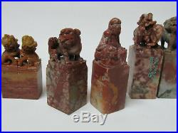 Fine Old Chinese Carved Figure & lion foo dog Soapstone Seals (6)