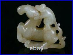 Fine Old Chinese Celadon Jade Carved Statue MONKEY RIDDING HORSE 92g