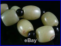 Fine Old Chinese Celadon Nephrite Jade Carved Beaded Bracelet Prayer Beads