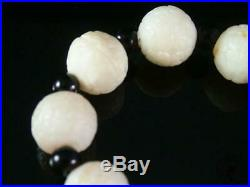Fine Old Chinese Celadon Nephrite Jade Carved Bracelet Prayer Beads Ruyi Sty