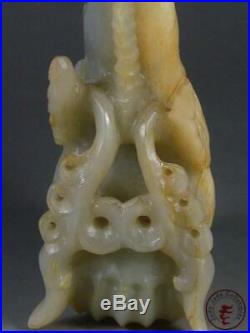 Fine Old Chinese Celadon Nephrite Jade Carved Statue AUSPICIOUS BEAST with BABY