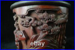 Fine Old Chinese Hand Carving Bamboo Brush Pot Marked DuShiYuan