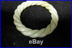 Fine Old Chinese Hand Carving Natural Nephrite Jade Woman Bangle Bracelet