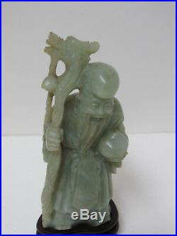 Fine Old Chinese Nephrite Jade Carved Longevity Old Man Figurine 6-7/8