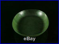 Fine Old Chinese Spinach Green Jade Carved Brush Washer Plate Statue