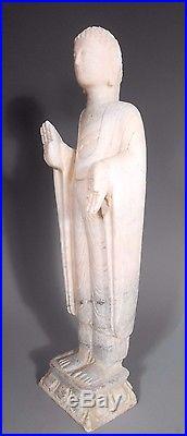 Fine Old Japan Japanese carved Marble Buddha on Lotus Base Meiji Era ca. 19th c